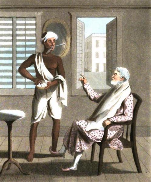 The European in India - A Gentleman attended by his Hajaum, or Native Barber (1813)