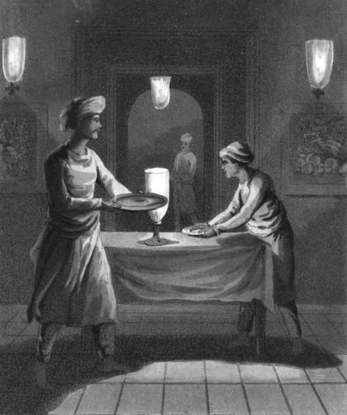 The European in India - A Gentleman's Kedmutgars, or Table Servants, bringing in Dinner (1813)