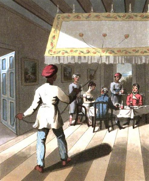 The European in India - An English Family at Table, under a Punkah, or Fan, kept in motion by a Khelassy (1813)
