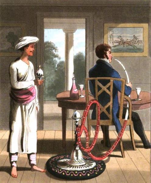 The European in India - A Gentleman with his Hookah-Burdar, or Pope-Bearer (1813)