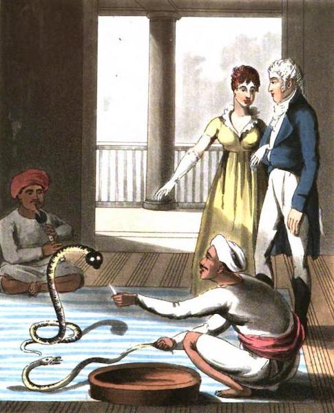 The European in India - A Saumpareeah, or Snake-Catcher, exhibiting Snakes before Europeans (1813)