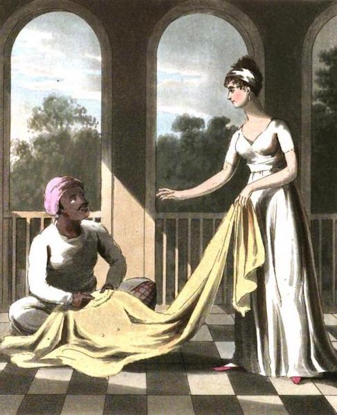 The European in India - An European Lady giving instructions to her Durzee, or Native Tailor (1813)