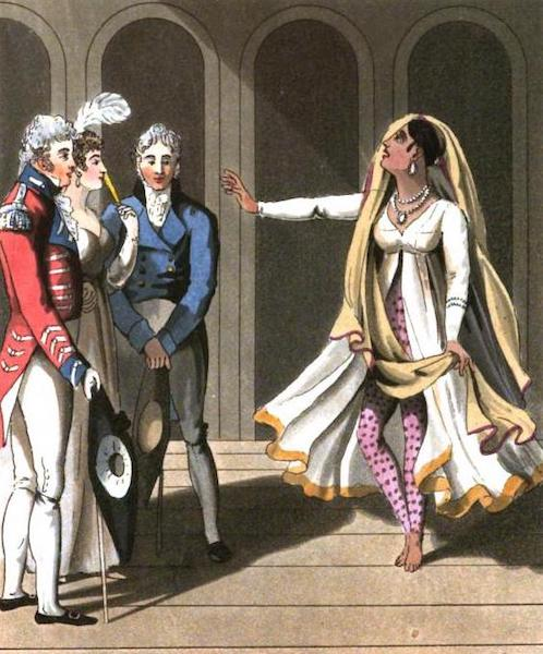 The European in India - A Dancing Woman of Bengal, exhibiting before an European Family (1813)