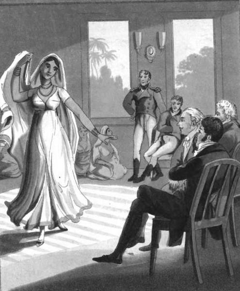 The European in India - A Dancing Woman, of Lueknow, exhibiting before an European Family (1813)
