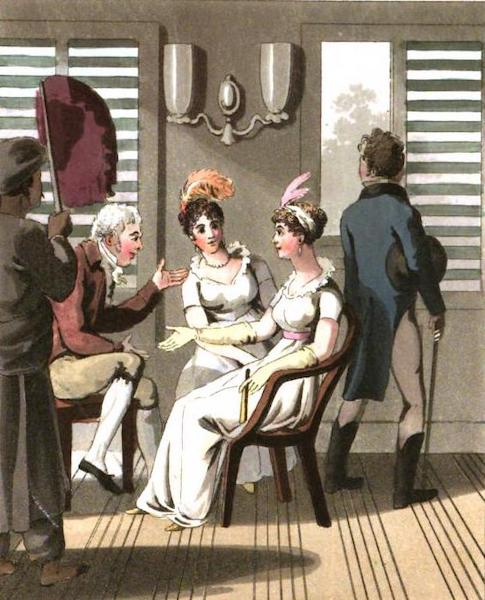 The European in India - An European Lady, attended by a Servant using a Hand Punkah, or Fan (1813)
