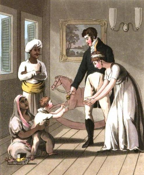 The European in India - An European Lady and her Family, attended by an Ayah, or Nurse (1813)