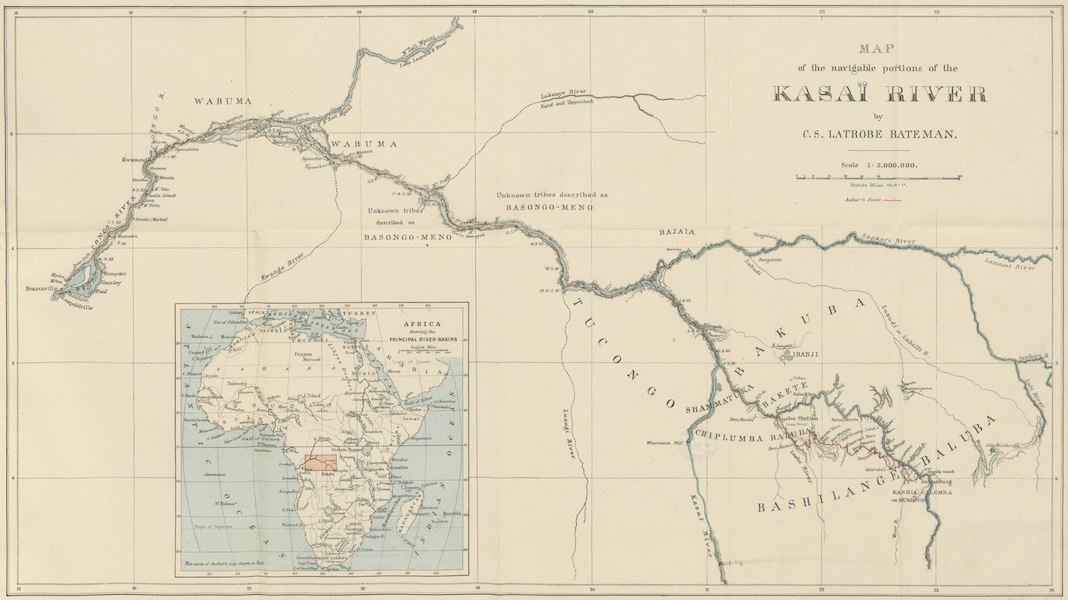 The First Ascent of the Kasai - Map of the Navigable Portions of the Kasai River (1889)