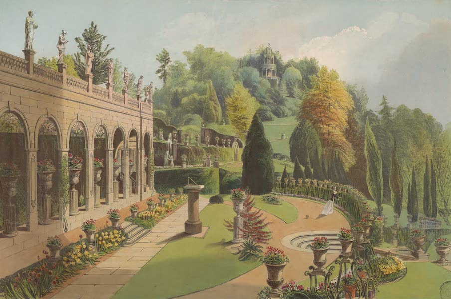 The Gardens of England - The Colonnade, Alton Gardens (1858)