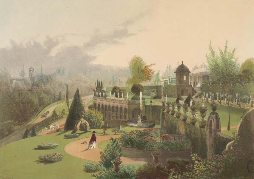 The Gardens of England - View in the Gardens at Alton Towers (1858)