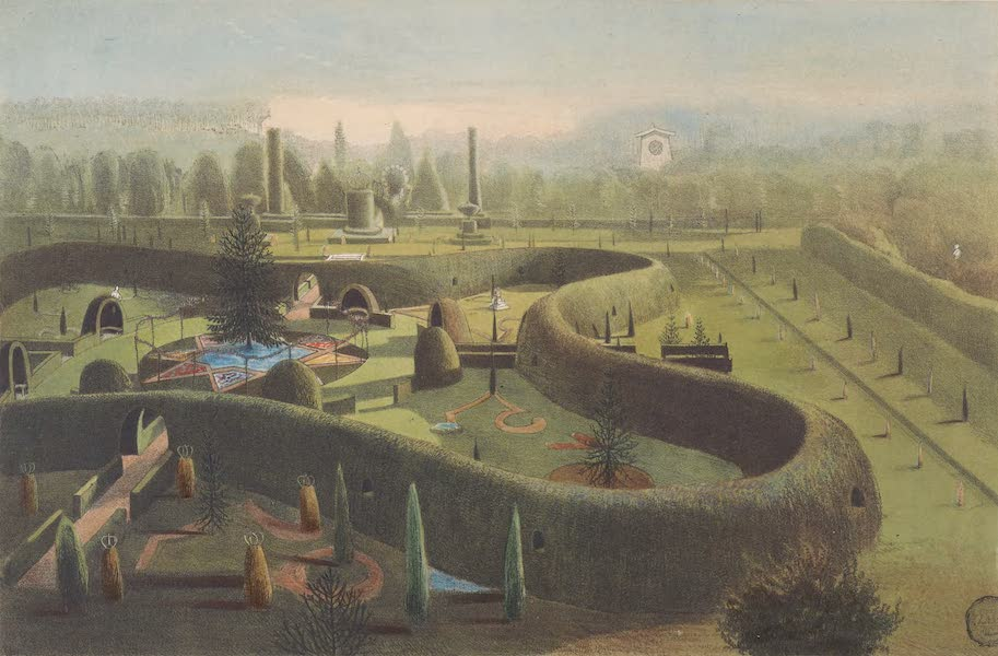 The Gardens of England - Birds Eye View of (Mon Plaisir) in the Garden at Elvaston Castle (1858)