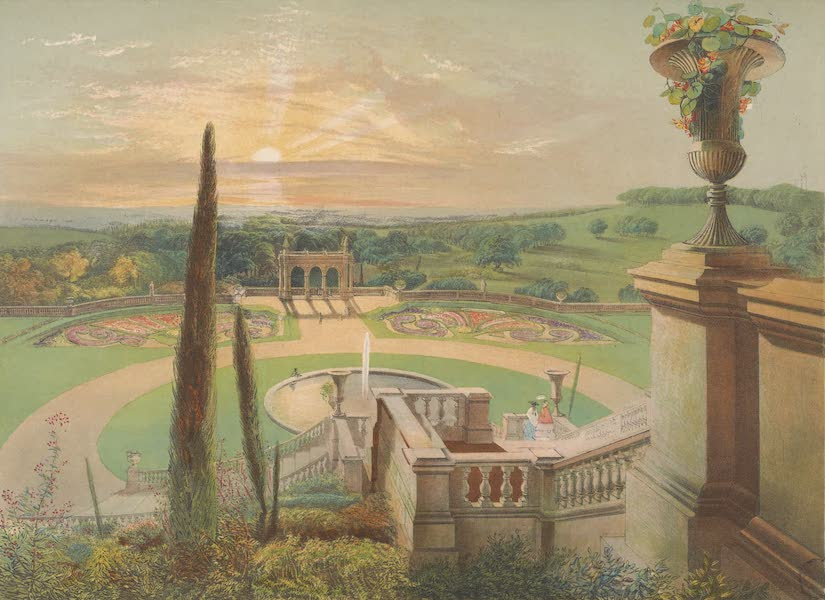 The Gardens of England - View from the Upper Terrace Walk, in the Gardens at Shrublands (1858)