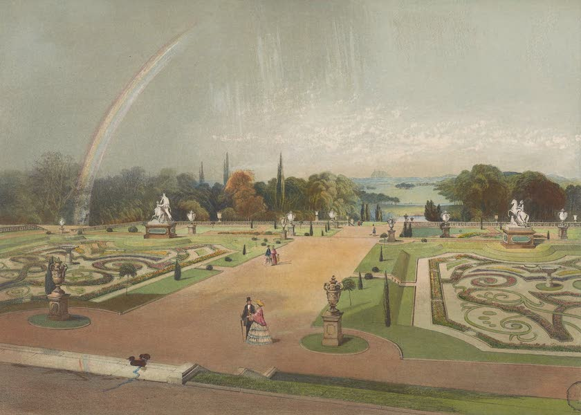 The Gardens of England - View in the Gardens of Eaton Hall (1858)