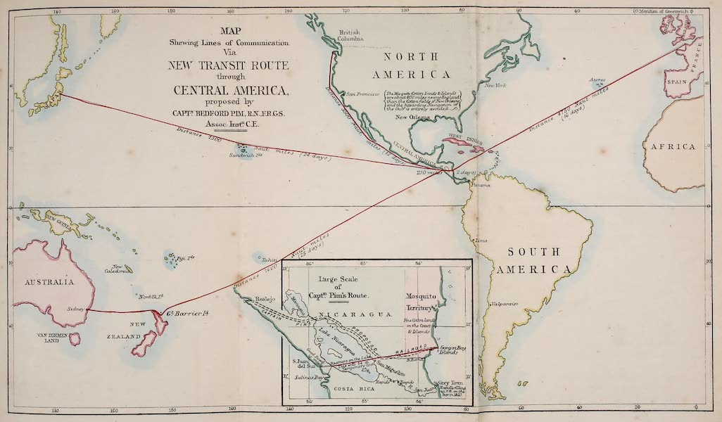 The Gate of the Pacific - Map Shewing Lines of Communication via New Transmit Route Through Central America (1863)