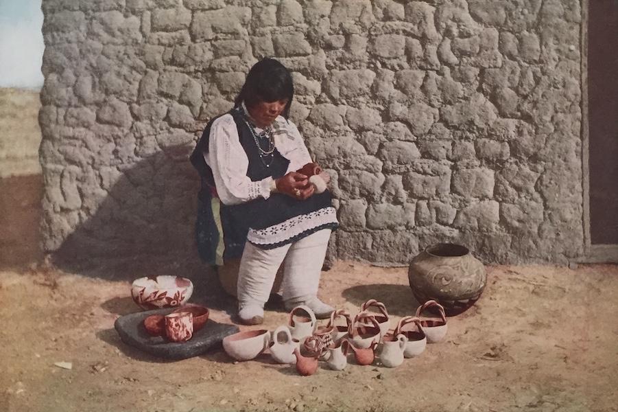 The Great Southwest - Decorating Pottery, Pueblo of Isleta, New Mexico (1919)
