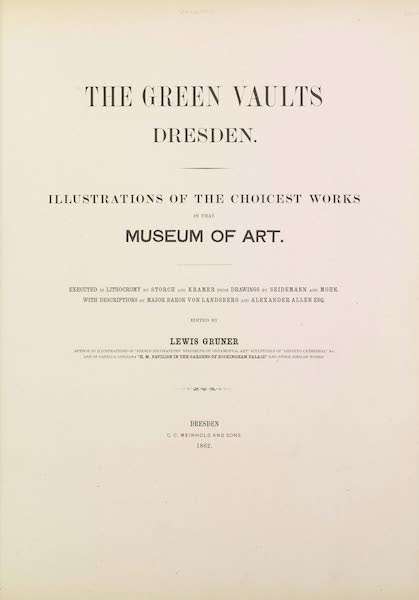 The Green Vaults Dresden - Title Page (1862)
