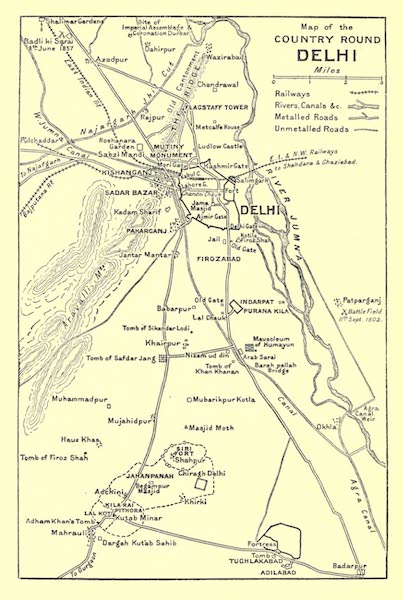 The High-Road of Empire - Map of the Country Round Delhi (1905)