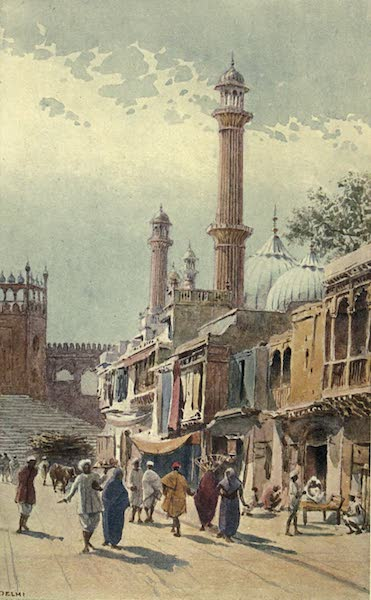 The High-Road of Empire - A Street in Delhi - Looking Towards the Jumma Musjid (1905)