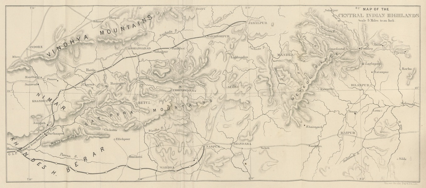 The Highlands of Central India - Map of the Central Indian Highlands (1871)