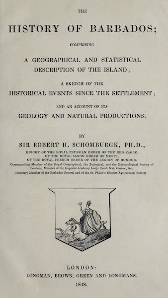 The History of Barbados - Title Page (1848)