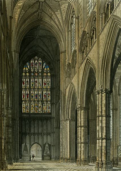 The History of the Abbey Church of St. Peter's Westminster Vol. 2 - Interior view of Westminster Abbey, looking towards the West Entrance (1812)