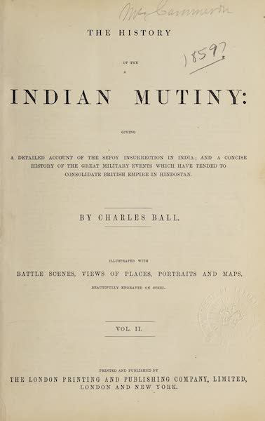 The History of the Indian Mutiny Vol. 2 - Title Page (Volume II) (1859)