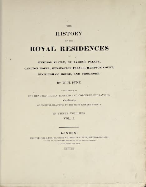 History of the Royal Residences Vol. 1 - Title Page (1819)