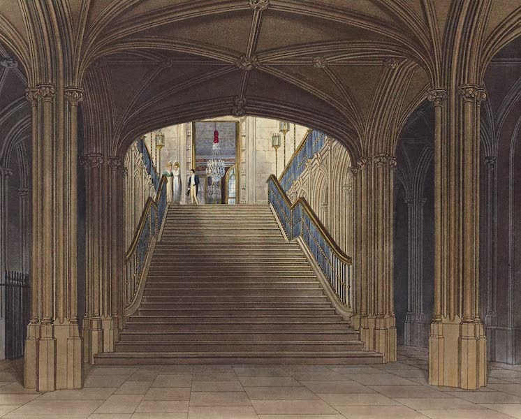History of the Royal Residences Vol. 1 - Staircase, Windsor Castle (1819)