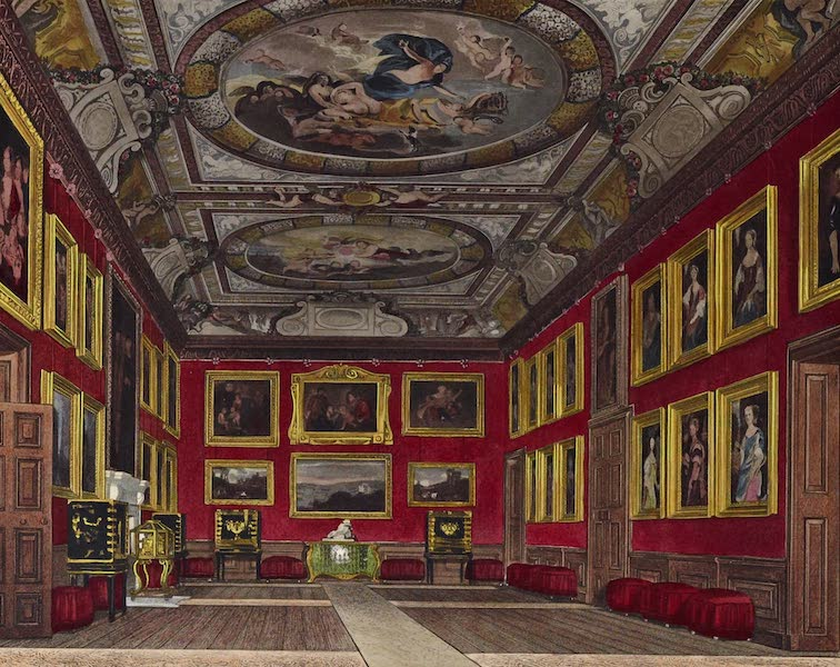 History of the Royal Residences Vol. 1 - Queen's State Bedchamber, Windsor Castle (1819)