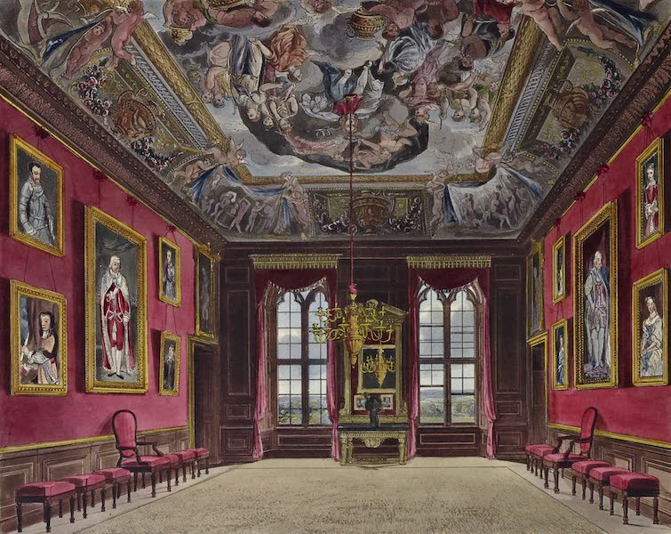 History of the Royal Residences Vol. 1 - The King's Old State Bedchamber, Windsor Castle (1819)