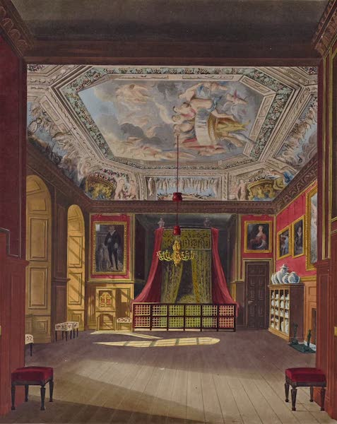 History of the Royal Residences Vol. 1 - Queen Anne's Bed, Windsor Castle (1819)