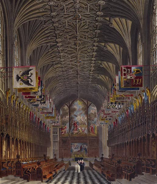 History of the Royal Residences Vol. 1 - Choir of St. Georges Chapel, Windsor Castle (1819)