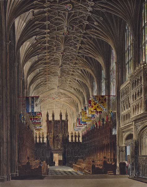 History of the Royal Residences Vol. 1 - St. Georges Chapel from the Altar, Windsor Castle (1819)