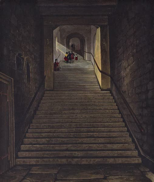 History of the Royal Residences Vol. 1 - Ancient Staircase (Round Tower) Windsor Castle (1819)