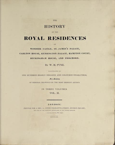 History of the Royal Residences Vol. 2 - Title Page (1819)