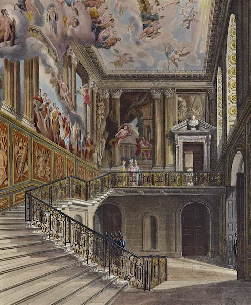 History of the Royal Residences Vol. 2 - Grand Staircase, Hampton Court (1819)