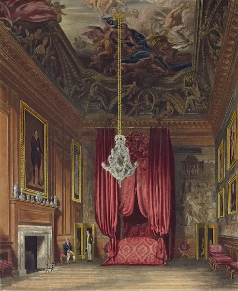 History of the Royal Residences Vol. 2 - Queen Mary's State Bedchamber, Hampton Court (1819)