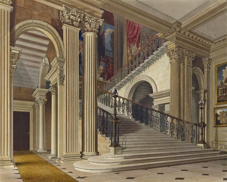 History of the Royal Residences Vol. 2 - Stair Case, Buckingham House (1819)