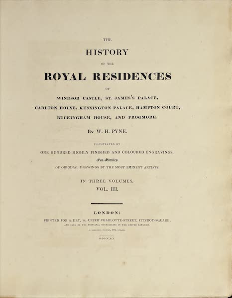 History of the Royal Residences Vol. 3 - Title Page (1819)