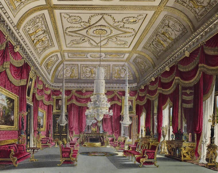 History of the Royal Residences Vol. 3 - Crimson Drawing Room, Carlton House (1819)