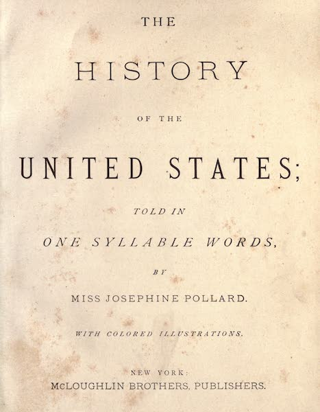 The History of the United States - Title Page (1884)