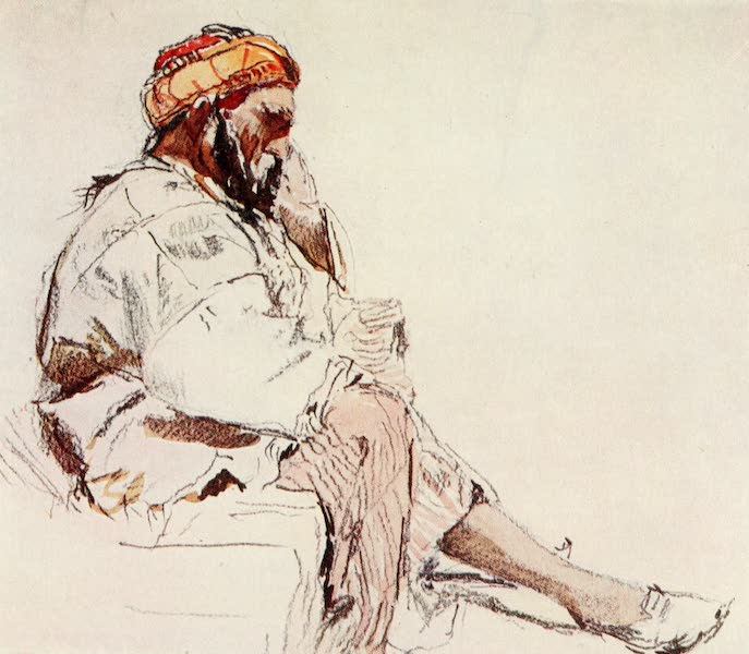 The Holy Land, Painted and Described - Syrian Peasant seated, in profile (1902)