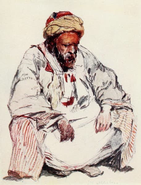 The Holy Land, Painted and Described - Seated figure of Syrian Shepherd in Sheepskin Coat (1902)