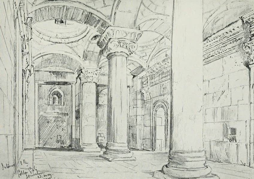 The Holy Land, Painted and Described - The Interior of the Golden or Beautiful Gate, Jerusalem (1902)