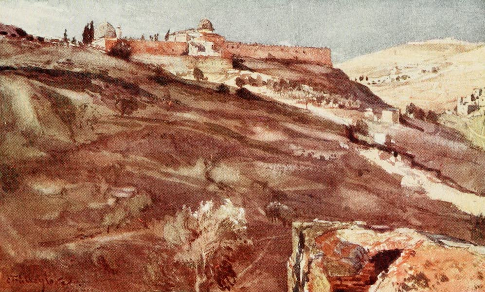 The Holy Land, Painted and Described - Jerusalem - South Wall of the Temple Area, from the Valley of Hinnom, at Sunset (1902)