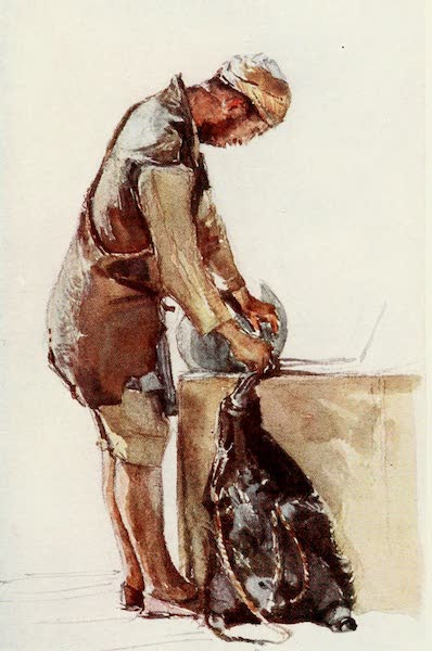 The Holy Land, Painted and Described - Water - Carrier filling Skin, Jerusalem (1902)