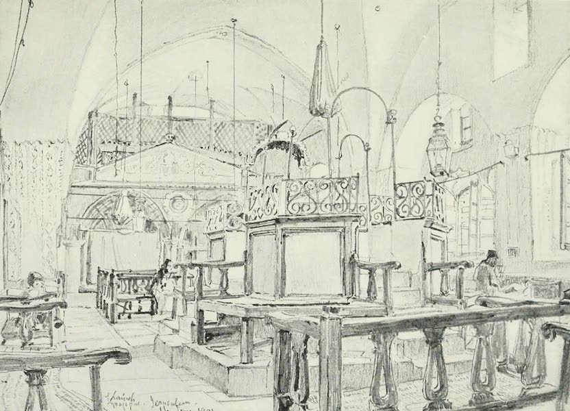 The Holy Land, Painted and Described - Spanish Synagogue in Jerusalem Interior (1902)