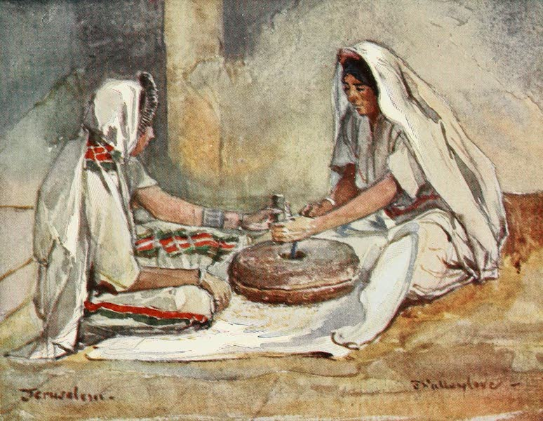 The Holy Land, Painted and Described - Two Women grinding at a Hand - Mill (1902)