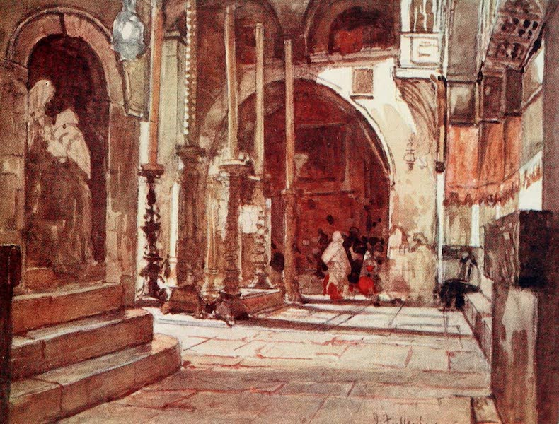 The Holy Land, Painted and Described - The Anointing Stone, from the Ambulatory of the Crusaders' Church (1902)