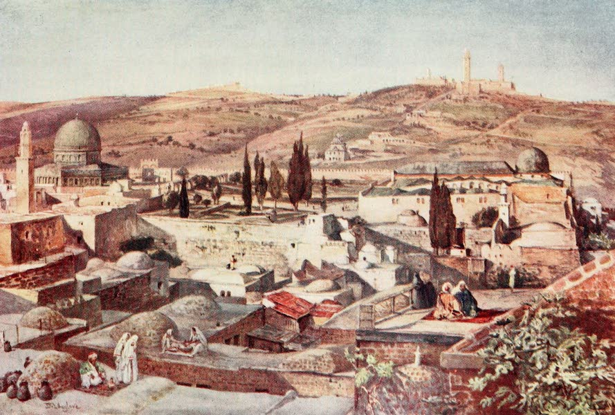The Holy Land, Painted and Described - The Temple Area and the Mount of Olives, from Mount Zion (1902)
