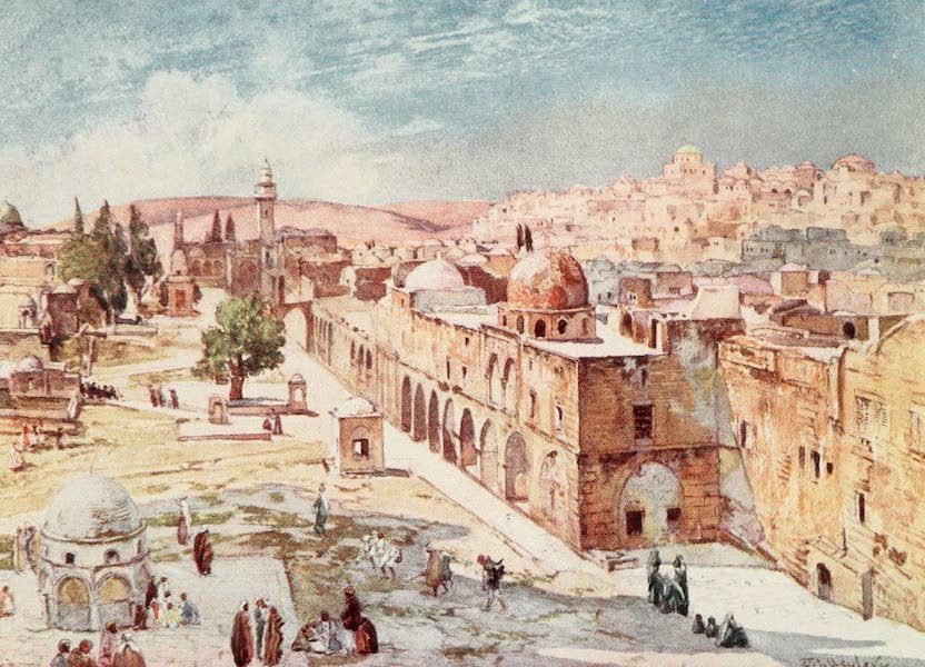 The Holy Land, Painted and Described - The West Side of the Temple Area, from the Barracks near the Site of the Tower of Antonia (1902)